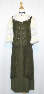 vintage green dirndl with lace top